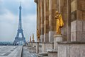 View from trocadero on eiffel tower paris with golden statues Royalty Free Stock Photos