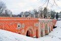 View of tsaritsyno park in moscow old bridge made of red bricks february russia winter a popular touristic landmark Royalty Free Stock Photo