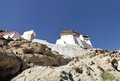 A view of tsemo monastery on hilltop is at the top the same leh palace hill called as hill Royalty Free Stock Photography