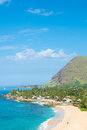 View of turtle beach on the north west coast of oahu secluded in hawaii Stock Photography