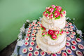 View of two layered wedding cake Royalty Free Stock Image