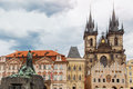 View of Tyn Church in Prague Stock Photos