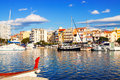 View of typical mediterranean town from sea Royalty Free Stock Photo