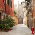 View of a typical narrow venice street square composition Royalty Free Stock Photos