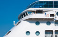 View upper deck cruise ship captain s bridge luxury ocean liner seaside white passenger ship portholes Royalty Free Stock Photos