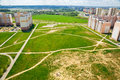 A view of the vacant lot between the apartment buildings in one district city grodno belarus Stock Images