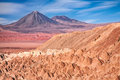 View from valle de la muerte chile death valley on the volcanoes licancabur and juriques Stock Photography