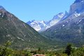 View valley beteen immense mountains shot patagonia south america Stock Photo