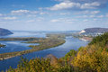 View of valley of the Volga river from the hill Royalty Free Stock Photo