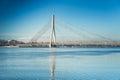 A view of the Vansu bridge over Daugava River in Riga, Latvia Royalty Free Stock Photo