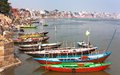 View of Varanasi with boats on sacred Ganga River Royalty Free Stock Photo