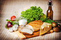 View of vegetables bread and cheese Royalty Free Stock Image