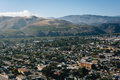 View of Ventura and distant mountains from Grant Park, in Ventur Royalty Free Stock Photo