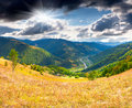 View of the village kvasy with dramatic sky trans carpathian ukraine europe Royalty Free Stock Photo
