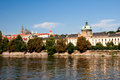 View of vltava river embankment prague in summer day the czech republic Royalty Free Stock Photo