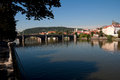 View of vltava river embankment prague in summer day the czech republic Royalty Free Stock Photography