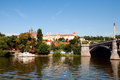 View of vltava river embankment prague in summer day the czech republic Stock Images