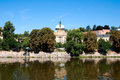 View of vltava river embankment prague in summer day the czech republic Stock Photography