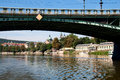 View of vltava river embankment prague in summer day the czech republic Royalty Free Stock Photos