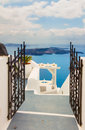 View of volcano caldera with stairs, Santorini Royalty Free Stock Photo