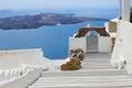 View of volcano caldera with stairs, Santorini Royalty Free Stock Photo