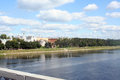 View on volga quay from the bridge Royalty Free Stock Photography