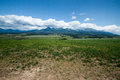 View on vysoke tatry from fall mountains in slovakia with clouds Royalty Free Stock Photos