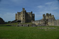 View of warkworth castle northumberland in Royalty Free Stock Photography