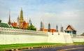 View of Wat Phra Kaew temple at the Grand Palace in Bangkok