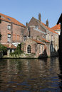 View from the water canal in Brugge, Belgium Royalty Free Stock Photos
