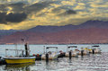View on water sport facilities in eilat israel the aqaba gulf red sea from the central beach of Royalty Free Stock Image