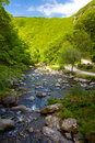 The view from Watersmeet towards Lynmouth Devon Stock Image