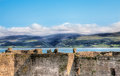 View of welsh countryside over castle wall Royalty Free Stock Images