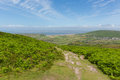 View of Welsh countryside on top of Rhossili Down mountain by the beach on The Gower Royalty Free Stock Photo