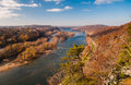 View west up the potomac river from maryland heights across harper s ferry virginia Royalty Free Stock Photo