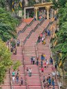 View of Where Tourist Walking Towards to Batu Caves Temple with Long Stairs Royalty Free Stock Photo