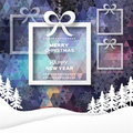 View of white mountains on polygonal background with christmas trees and box with bow. Royalty Free Stock Photo