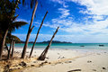 View of white sandy  beach in Praslin Stock Photos