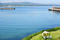 View on the wicklow harbour and lighthouse ireland june beautiful summer in town ireland Stock Photos