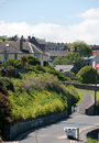 View on the wicklow village ireland june south quay street from harbour Stock Photo