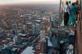 View from willis tower in chicago little glass blocks allow the people to have their feet with the void above Royalty Free Stock Image
