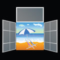 View from the window on the paradise beach vector illustration Royalty Free Stock Photo