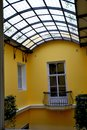 A window to the patio with balcony Royalty Free Stock Photo