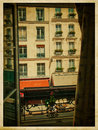 View from the window vintage parisian street photo Royalty Free Stock Images