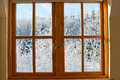 View through a window, winter time Royalty Free Stock Photo