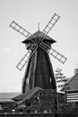 View of wooden mill in a summer day black and white Royalty Free Stock Photo