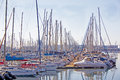View of yachts moored in durban harbor south africa collection at yacht club Stock Photo