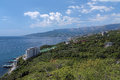 View yalta city ai petri mountain nikita settlement crimea ukraine Royalty Free Stock Photos