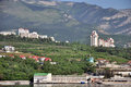 view of yalta houses hotels and motels near the sea coast black sea in ukraine the photo was taken the boat into the sea during Royalty Free Stock Photo