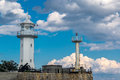 View of the Yalta lighthouse from the sea Royalty Free Stock Photo